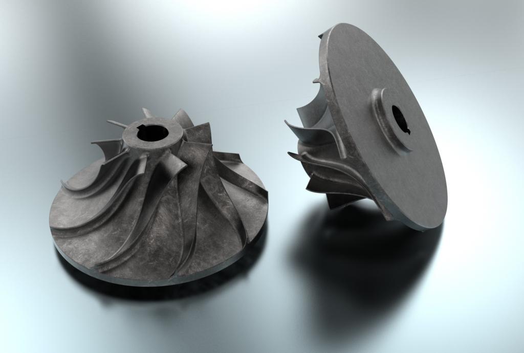 Zwei runde 3D-Modelle aus Metall